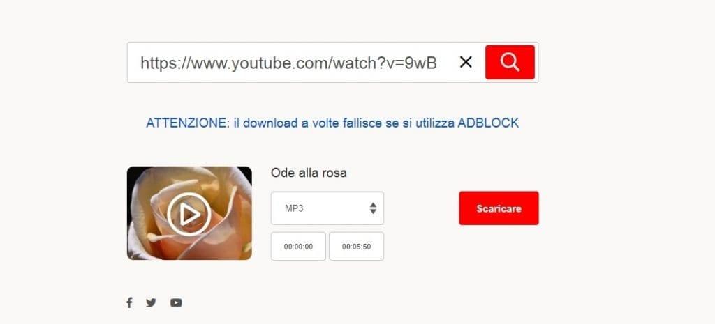 MP3hub per estrarre audio da un video online