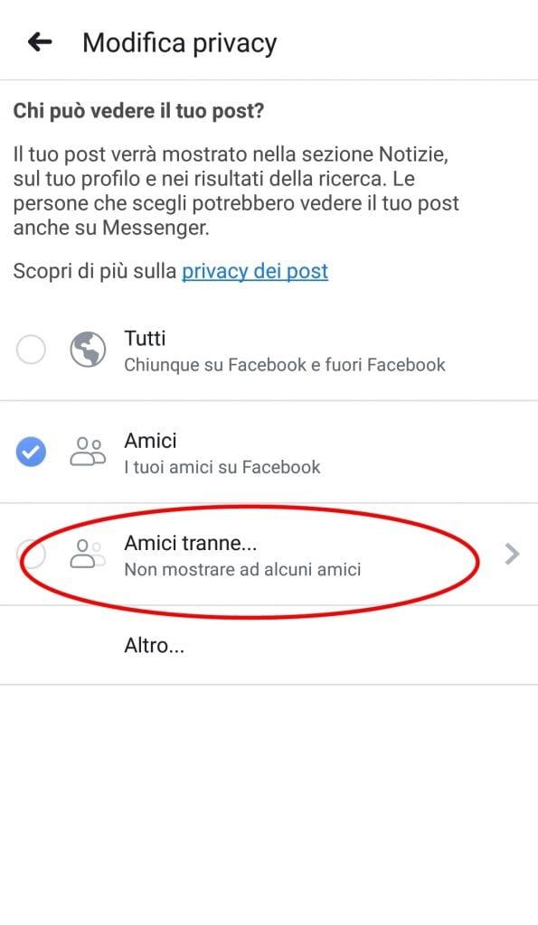 Escludere un utente da un post tramite smartphone