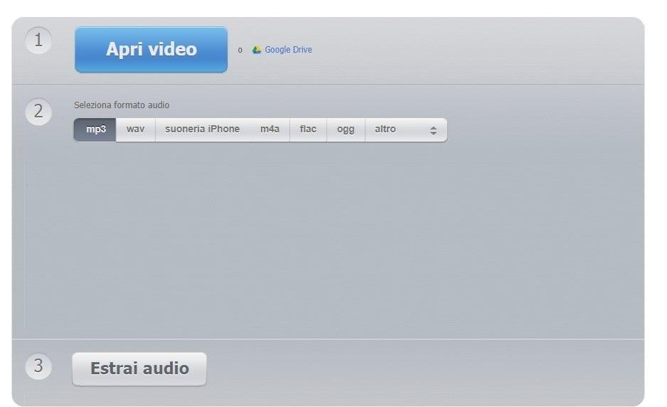 Audio extractor per estrarre audio da un video online.