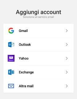 Aggiungi account email su Android