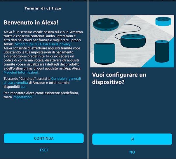 Configurare l'App Alexa