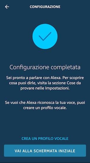 Configurazione Alexa Completata
