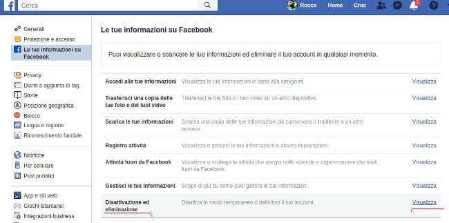 Disattiva o elimina account Facebook