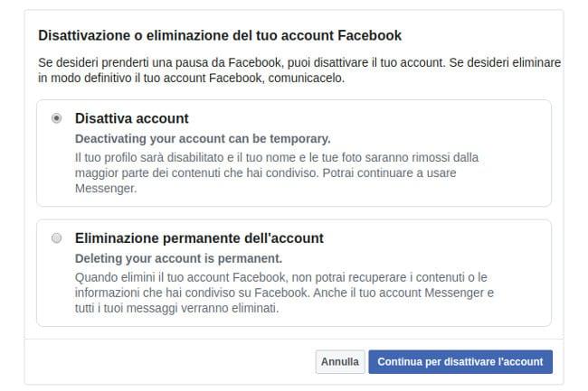 Disattiva account Facebook