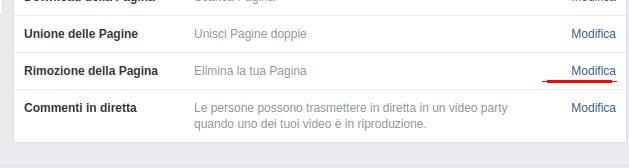Eliminare pagina Facebook