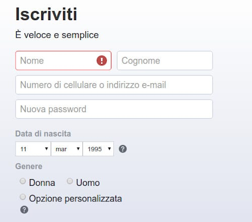 Iscrizione Facebook