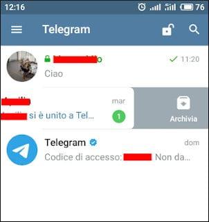 Archiviare chat Telegram