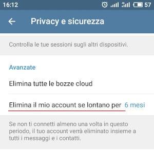 Autodistruzione Account Telegram