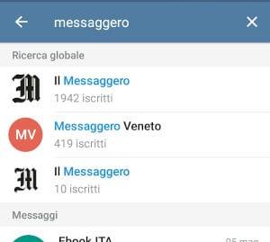 Cercare canali su Telegram