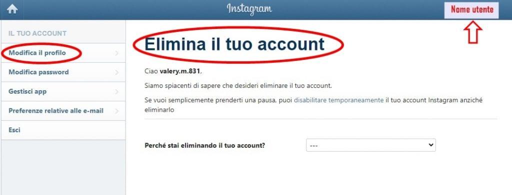 Eliminazione account Instagram